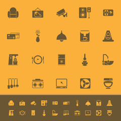 Cafe and restaurant color icons on orange background