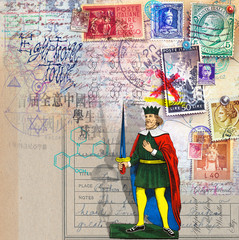 Scrapbook with old stamps and king of sword