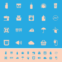 Laundry related color icons on blue background