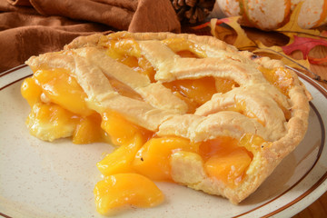 Peach pie on a holiday table