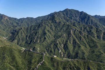 The mountains and the Great Wall of China