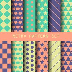retro geometric pattern set, vector EPS 10