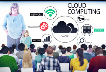 Group of People in Seminar with Cloud Computing