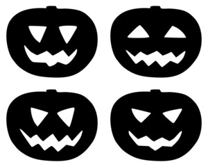 Halloween pumpkin icons set isolated on white
