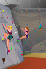 People climbing indoor wall