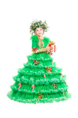 Little girl wearing christmas dress
