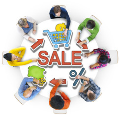 Group of People and Word Sale