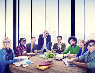 Multiethnic Group of People Smiling in the Office