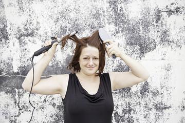 Women brush and irons