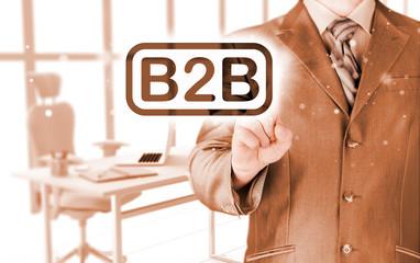 businessman pointing to word B2B