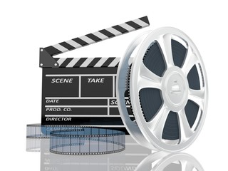 3d illustration of cinema clap and film reel