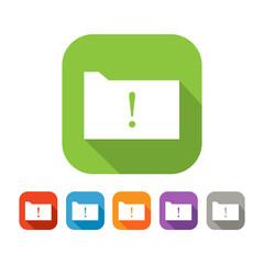 Color set of flat folder with warning sign