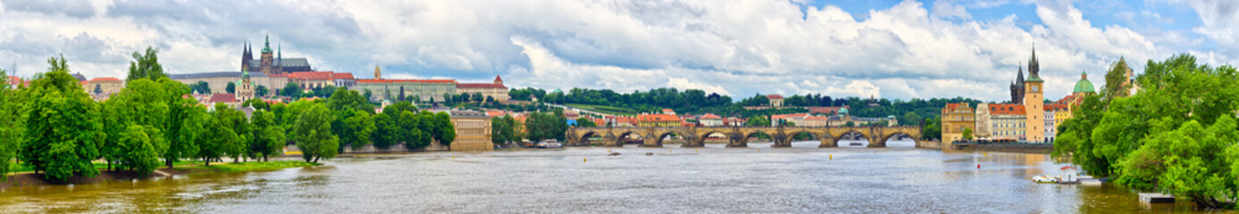 Panorama in Prague - with Charles Bridge and Hradcany hill