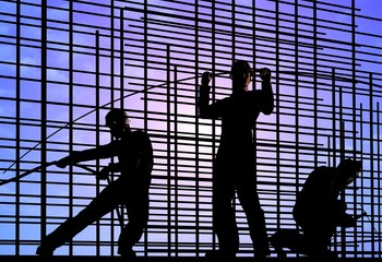 Silhouettes of working