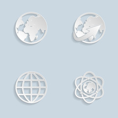 Paper Globe earth icons set
