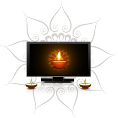 Happy diwali diya for led tv screen celebration background vecto