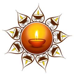Beautiful colorful religious decoration Diwali diya celebration