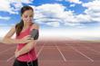 female runner with earphones