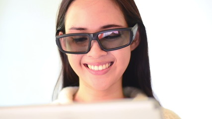 Asian woman smile face emotion and touching computer tablet
