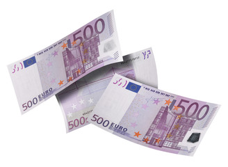 Five hundred euro bill collage isolated on white