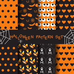 halloween seamless pattern set, vector