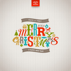 Multicolored Christmas type design on a knitted white background