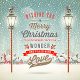 Christmas type design with vintage street lantern - 70826428