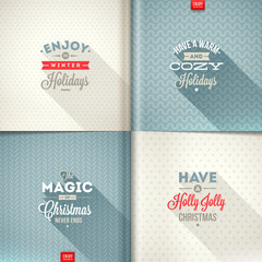 Vector set of Christmas type design with long shadow