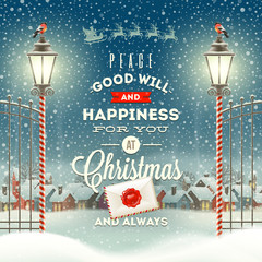 Christmas greeting type design with vintage street lantern