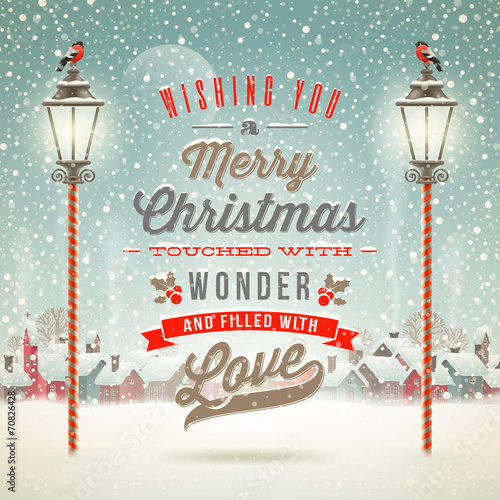 Christmas type design with vintage street lantern - 70826428