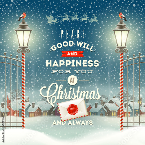 Christmas greeting type design with vintage street lantern - 70826432
