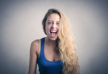 Blonde girl screaming