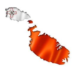 Malta flag map