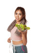 Asian healthy workout girl with measuring tape and salad