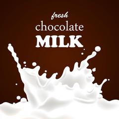 Vector Illustration of a Chocolate Milk Splash