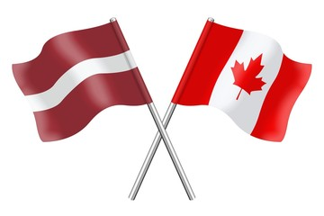 Flags: Latvia and Canada