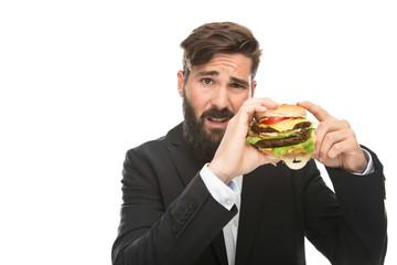 Mann mit Hamburger