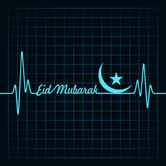 Creative calligraphy of text eid mubarak with heartbeat