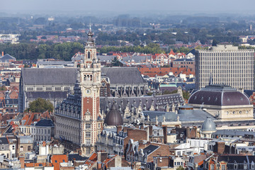 Aerial view on the centre of Lille, France