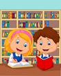 Boy and girl study together
