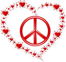 serce z serc i symbol pokoju
