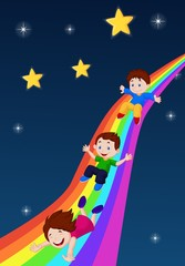 Illustration of Kids Sliding Down a Rainbow