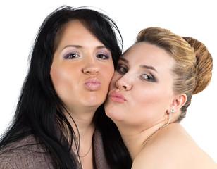 Image of joking bride and bridesmade