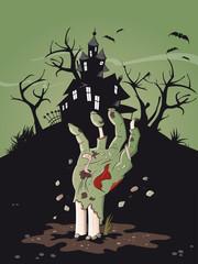 halloween zombie hand grab schloss
