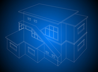 A wireframe home model on a blue background