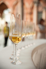 Glass goblets with sparkling wine