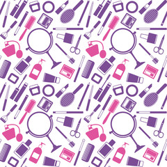 Vector seamless pattern background with various cosmetic objects