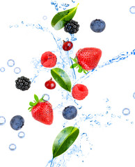 Fresh berries and green leaves with water splash, isolated