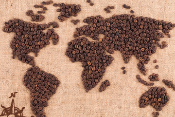 Handmade coffee map.