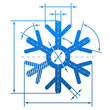 Snowflake sign with dimension lines. Blueprint drawing element